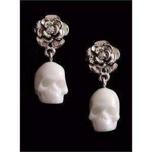 NEW Mortal Beauty Skull & Rose Earrings